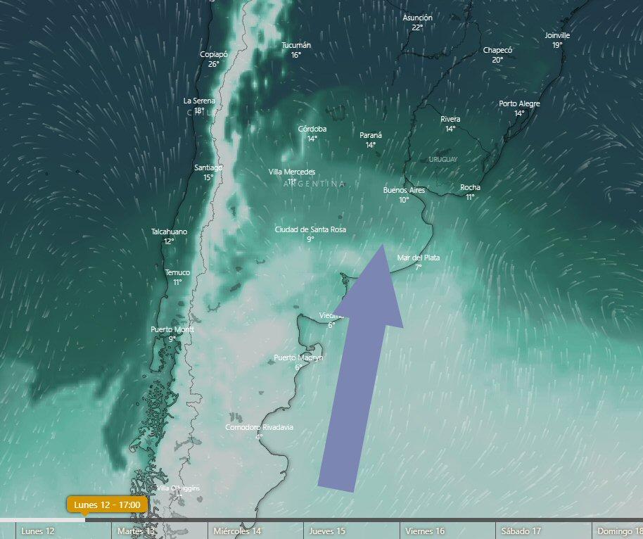Ingreso de aire frío para el lunes (ECMWF).